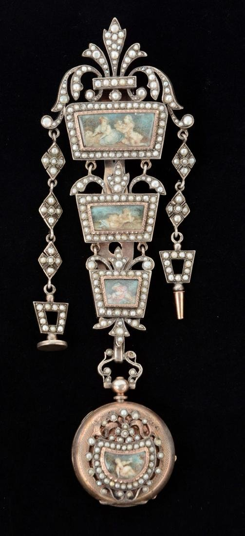 Antique French Victorian Chatelaine with Watch.