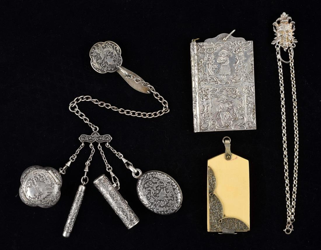 Lot of 4: Antique English Victorian Chatelaine and