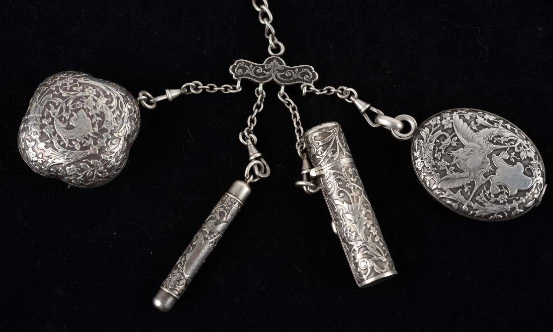 Lot of 4: Antique English Victorian Chatelaine and - 4