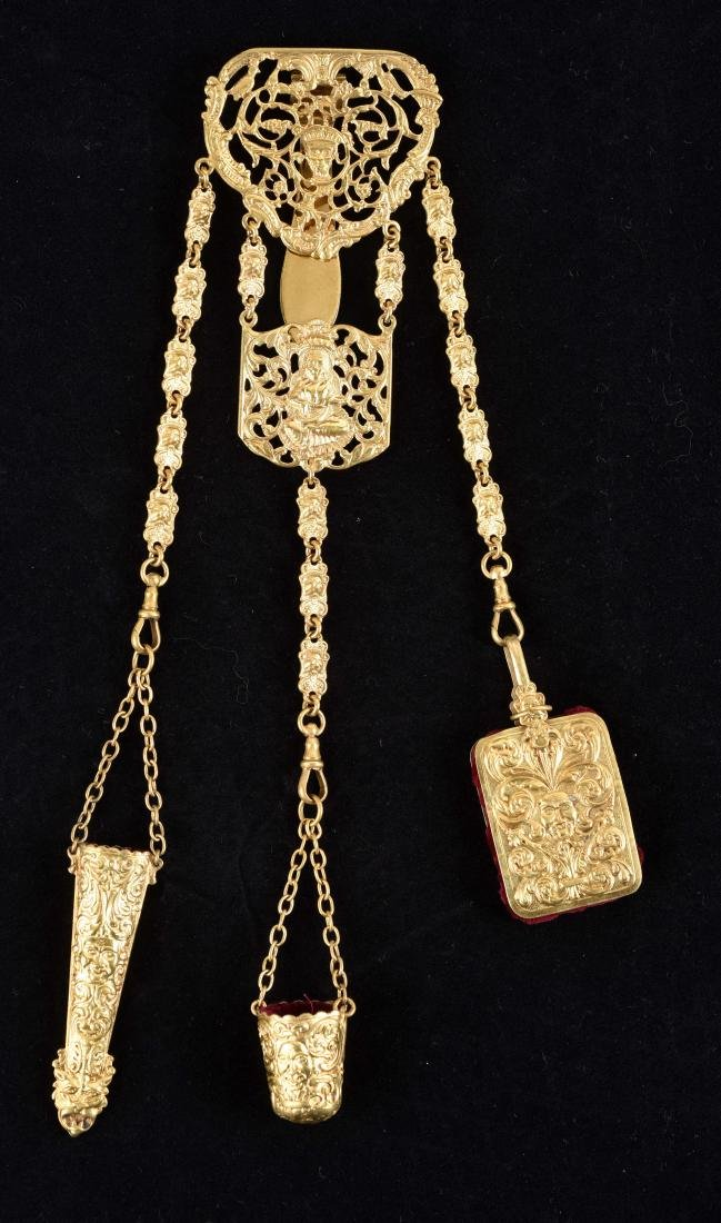 Antique English Victorian Gold Gilt Chatelaine.