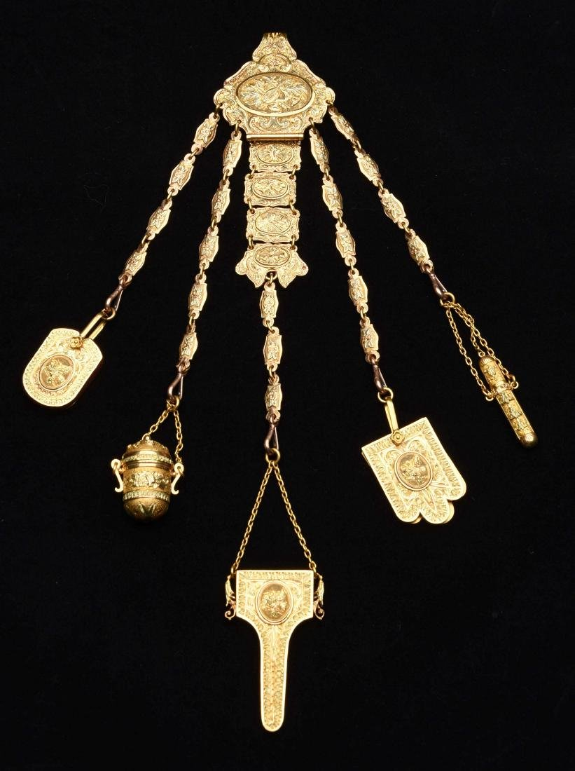 Antique English Victorian Double Chatelaine.