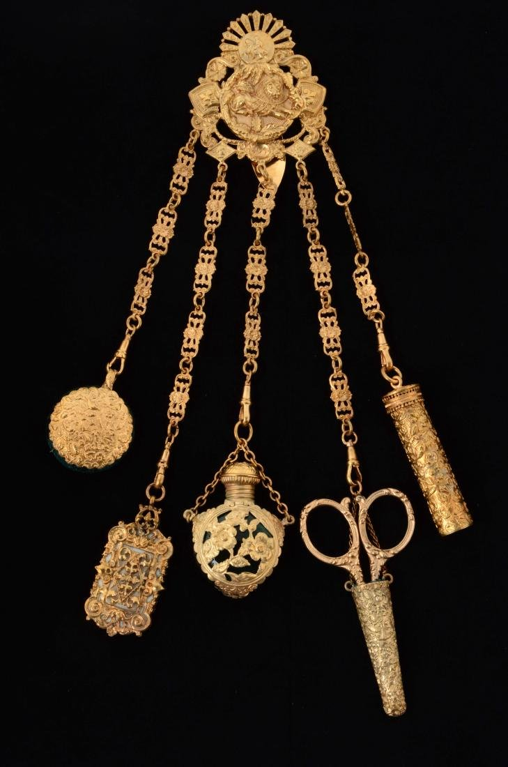 Antique English Gold Gilt Victorian Chatelaine.