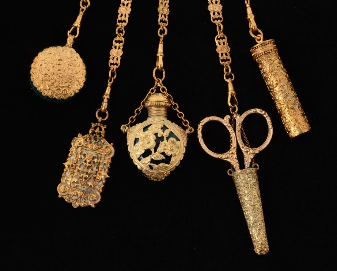Antique English Gold Gilt Victorian Chatelaine. - 2