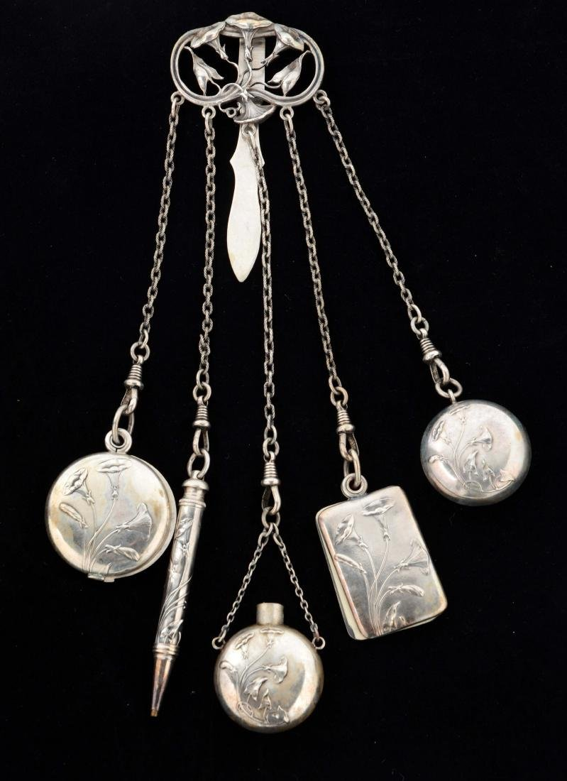 Victorian English Antique Silver Chatelaine.
