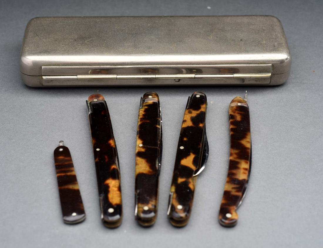 Antique Knife Set with Tortoise Ware Handles.
