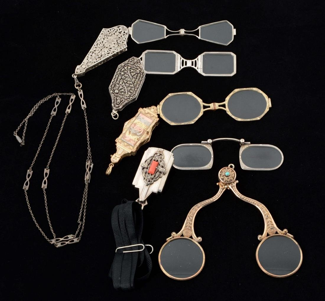 Lot Of 5: Antique Lorgnette Opera Glasses.