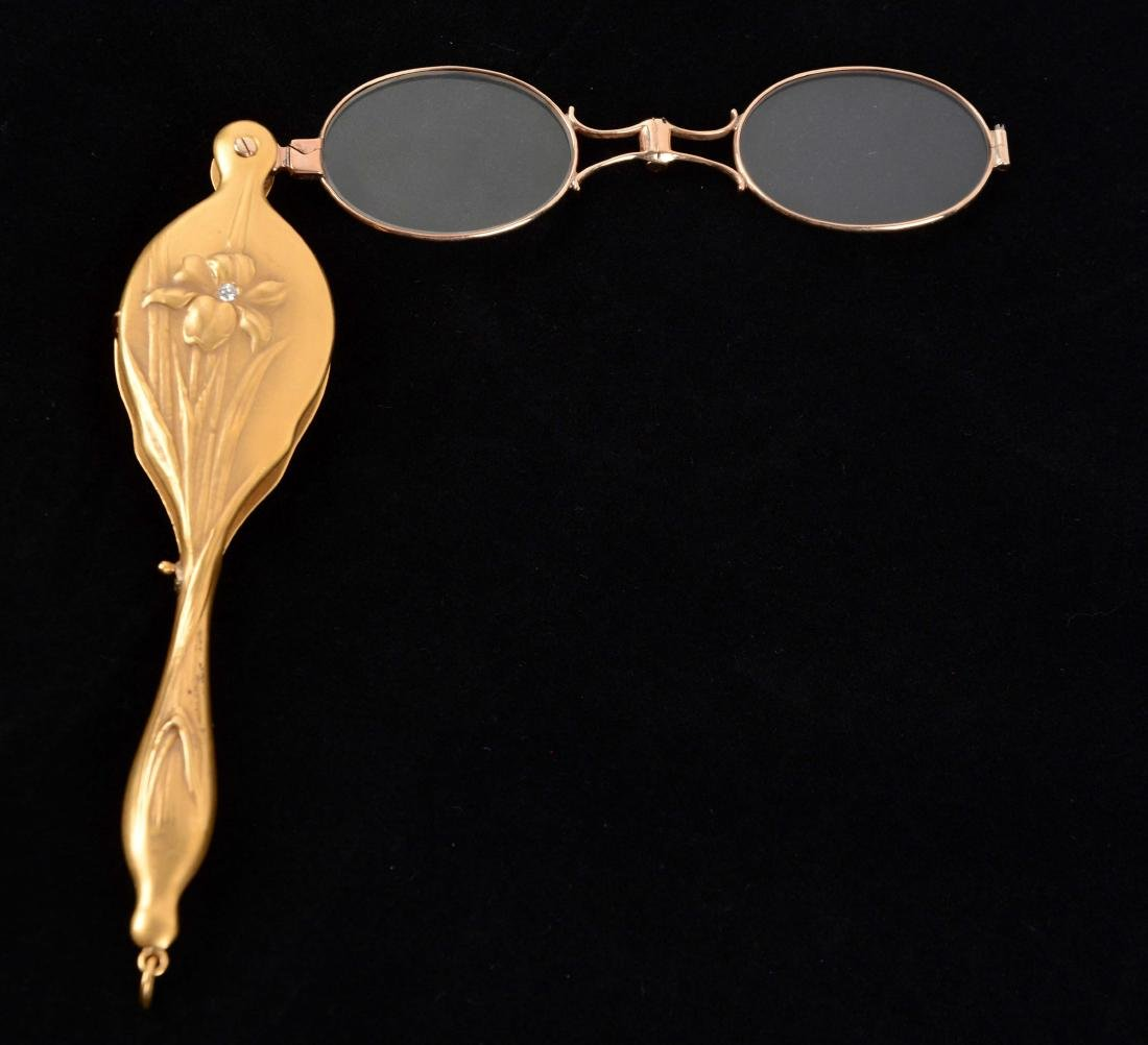 Antique 10K Yellow Gold Lorgnette Opera Glasses with