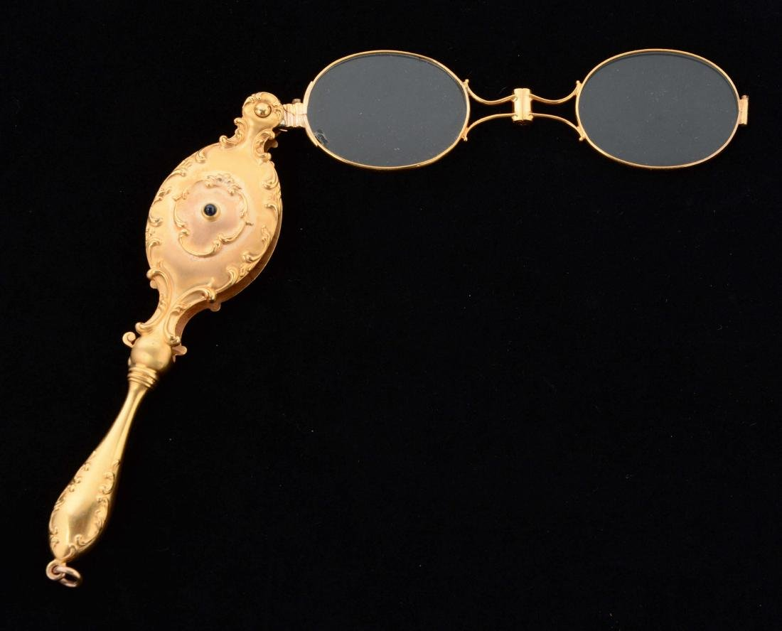 Antique 14K Yellow Gold Lorgnette Opera Glasses with