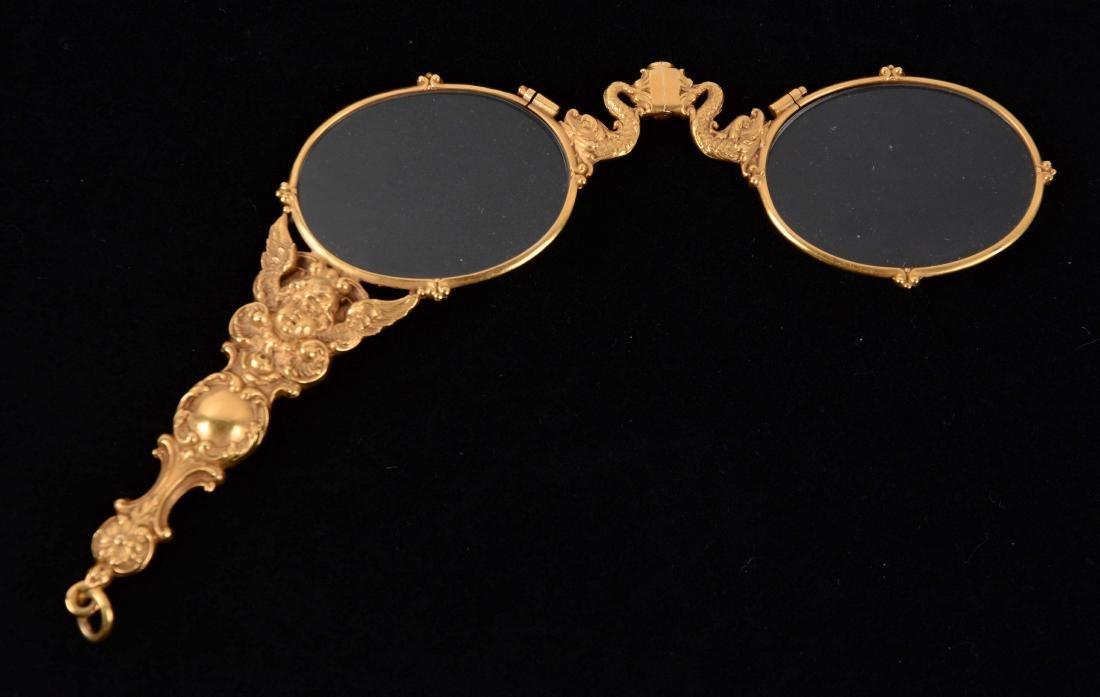 Antique 14K Yellow Gold Lorgnette Opera Glasses.