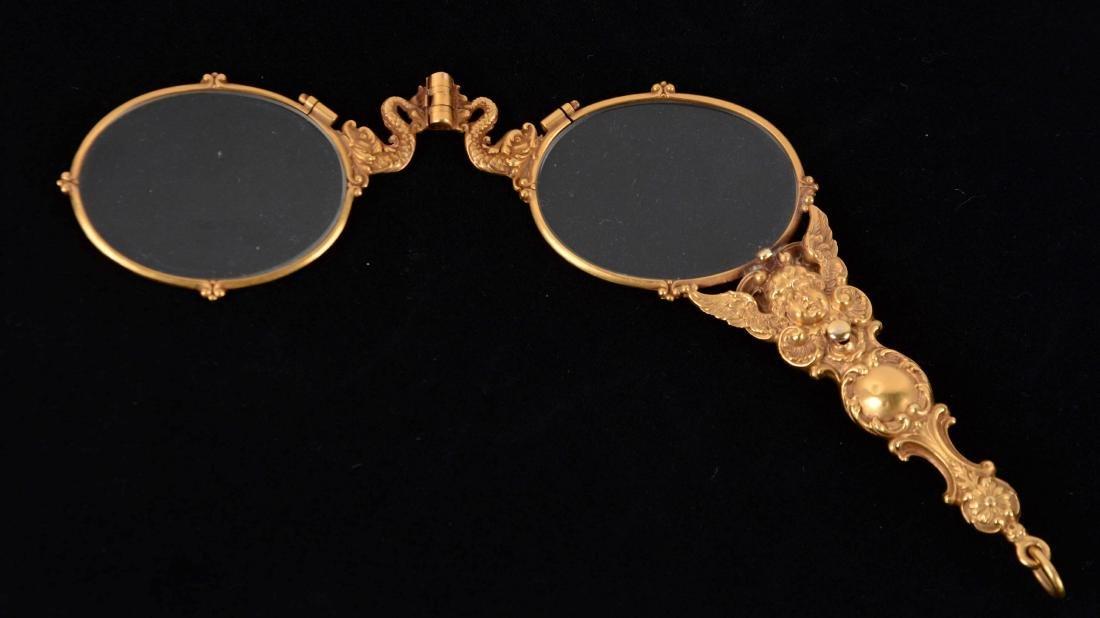 Antique 14K Yellow Gold Lorgnette Opera Glasses. - 2