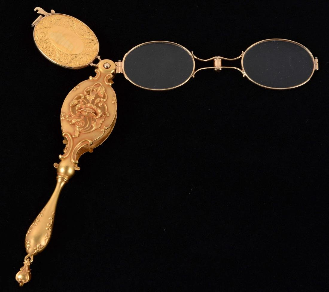 Antique 14K Yellow Gold Lorgnette Opera Glasses.