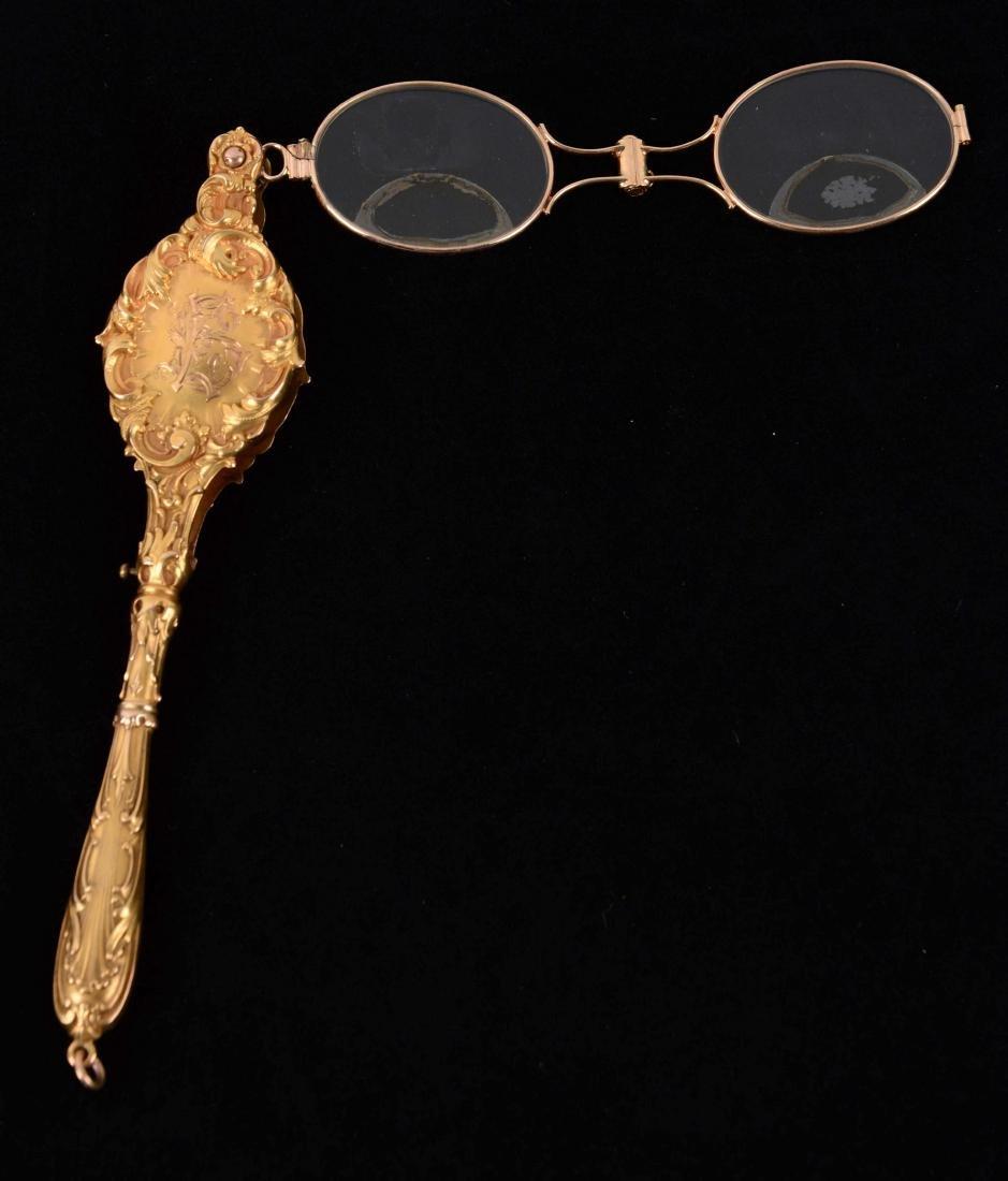 Antique 14K Yellow Gold Lorgnette Glasses.