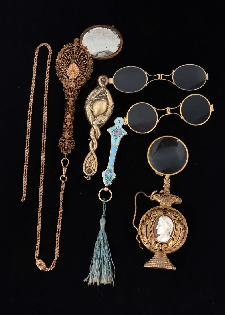 Lot Of 4: Antique Lorgnette Opera Glasses In Case.