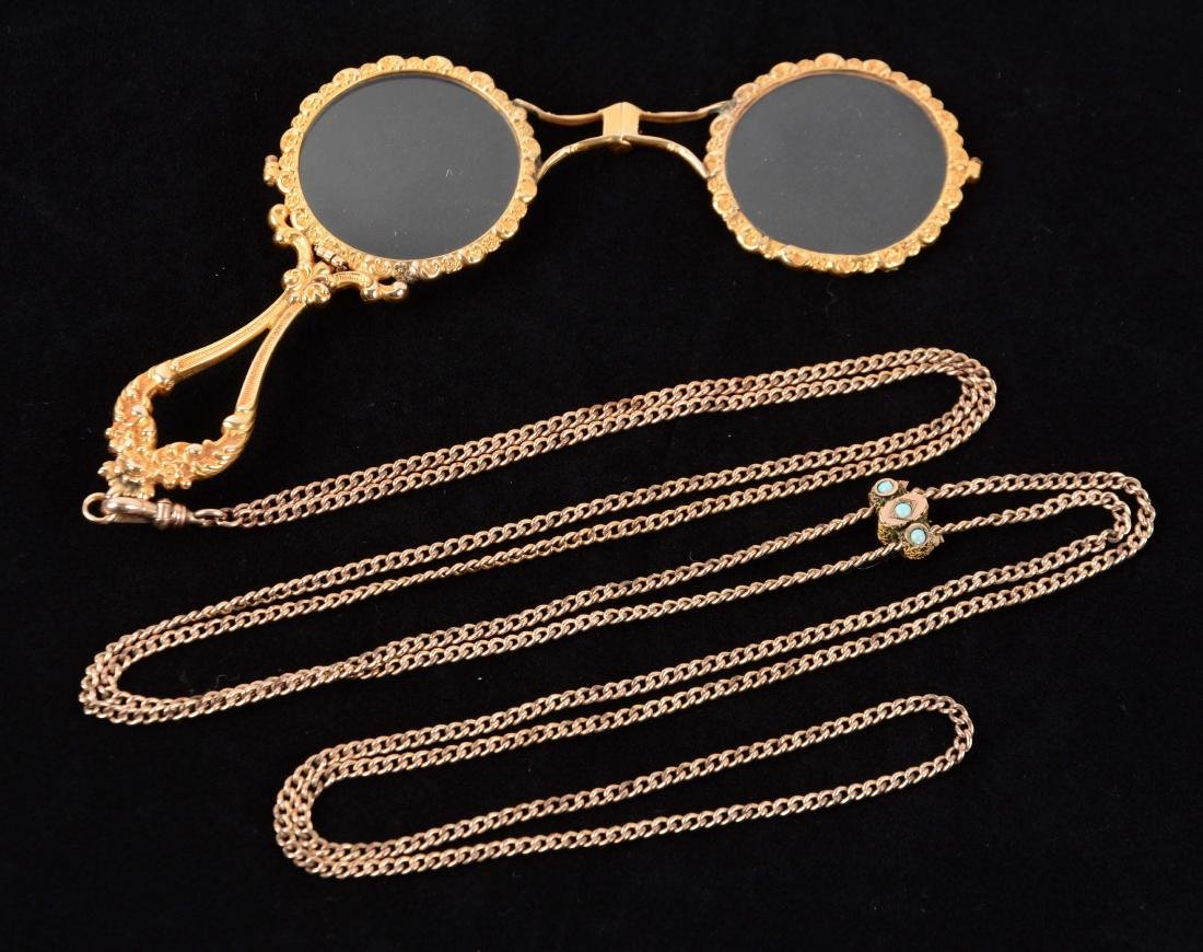 14K Yellow Gold Lorgnette Opera Glasses on Chain.