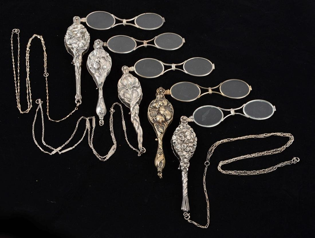 Lot Of 5: Antique Lorgnette Opera Glasses by Unger.
