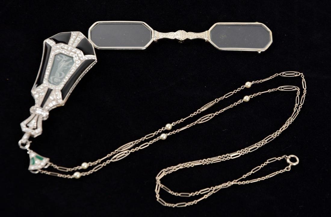 Antique Lorgnette Opera Glasses with Diamonds.