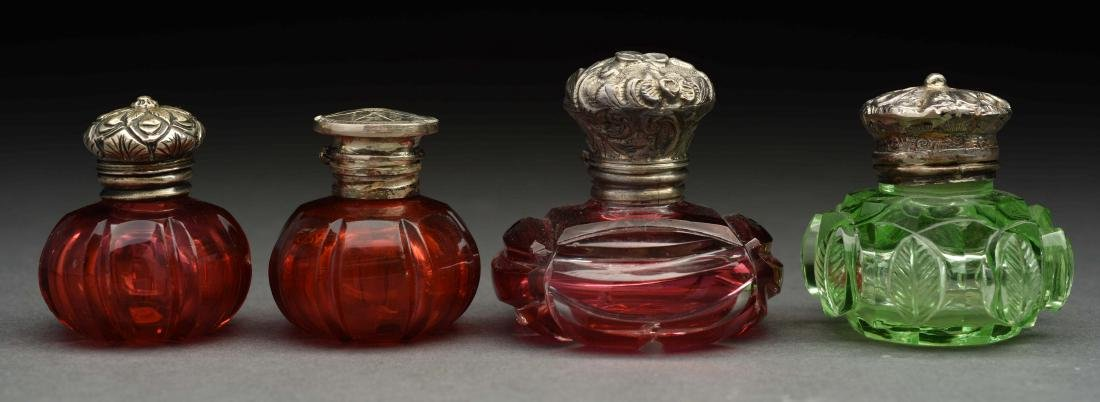 Lot Of 4: Glass Perfume Bottles with Vinaigrettes.