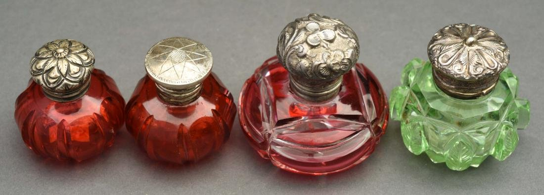 Lot Of 4: Glass Perfume Bottles with Vinaigrettes. - 2