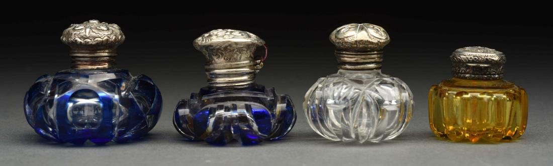 Lot Of 4: Glass Perfume Bottles/Vinaigrettes.