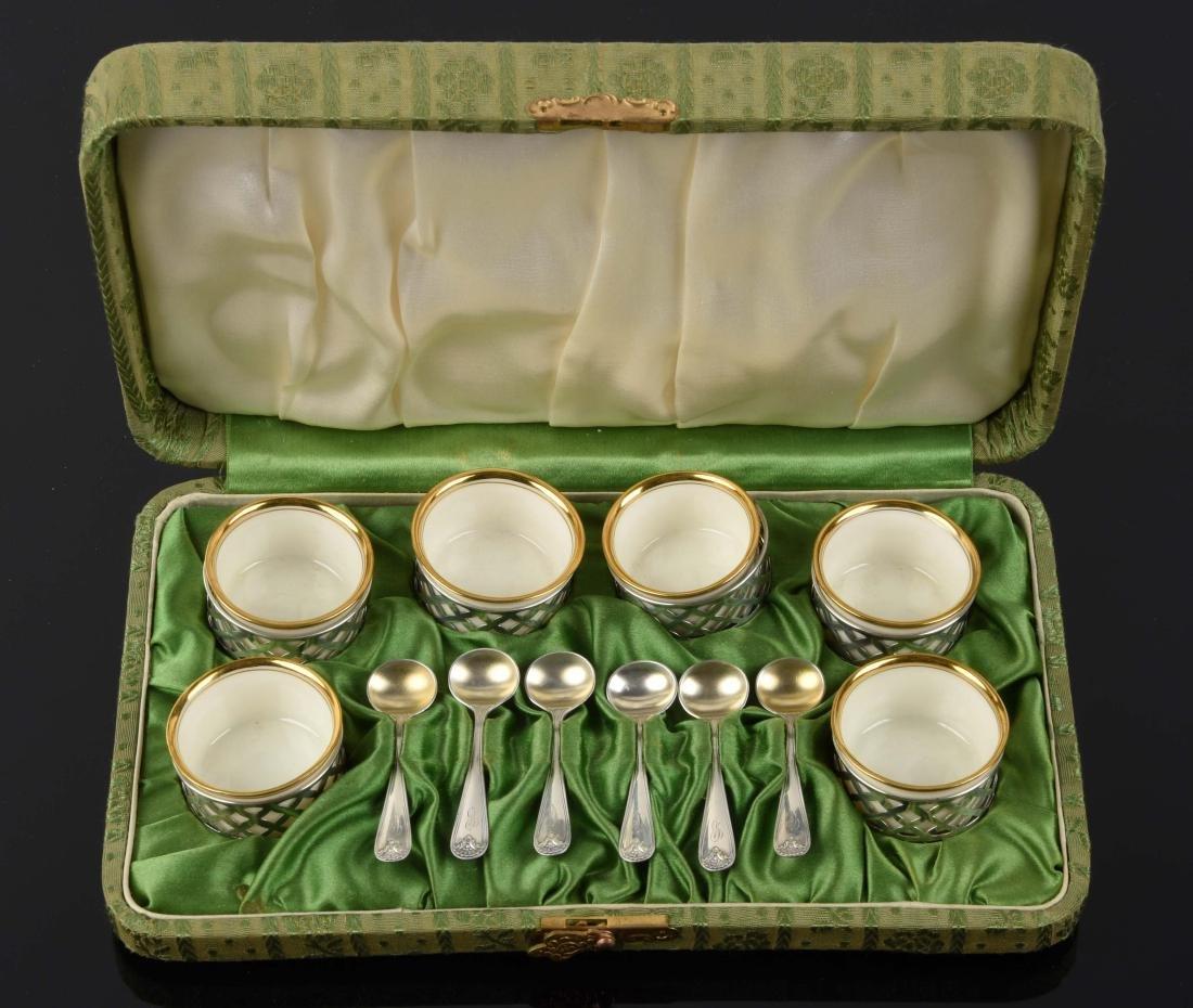 Set Of 6: Lenox Salt Spoons in Sterling Holder.