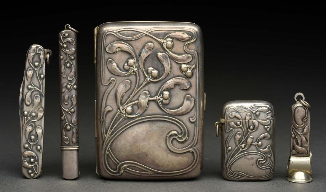 Set of 5: German .800 Silver Art Noveau Pieces in