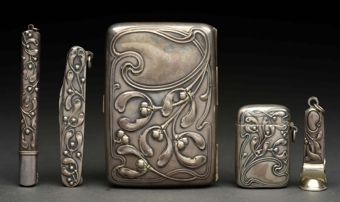 Set of 5: German .800 Silver Art Noveau Pieces in - 2