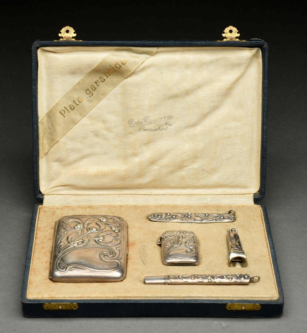 Set of 5: German .800 Silver Art Noveau Pieces in - 3