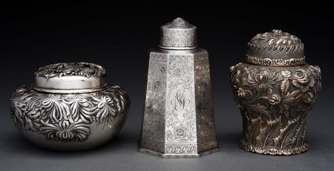 Lot of 3: Sterling Silver Tea Caddies.