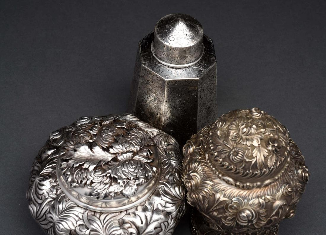 Lot of 3: Sterling Silver Tea Caddies. - 3
