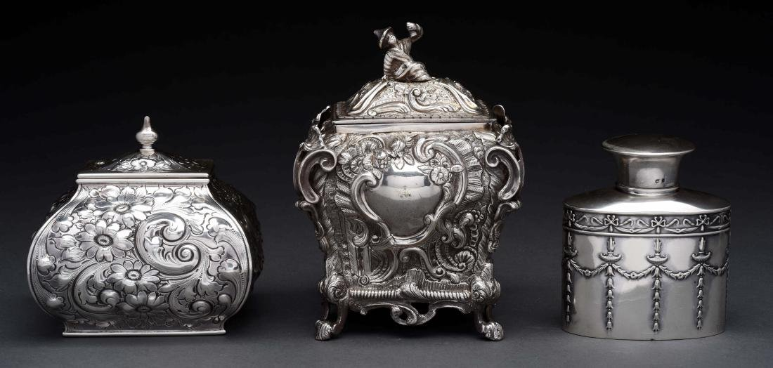 Lot of 3: Silver Tea Caddies.