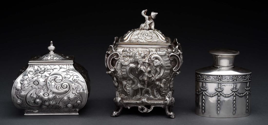 Lot of 3: Silver Tea Caddies. - 2