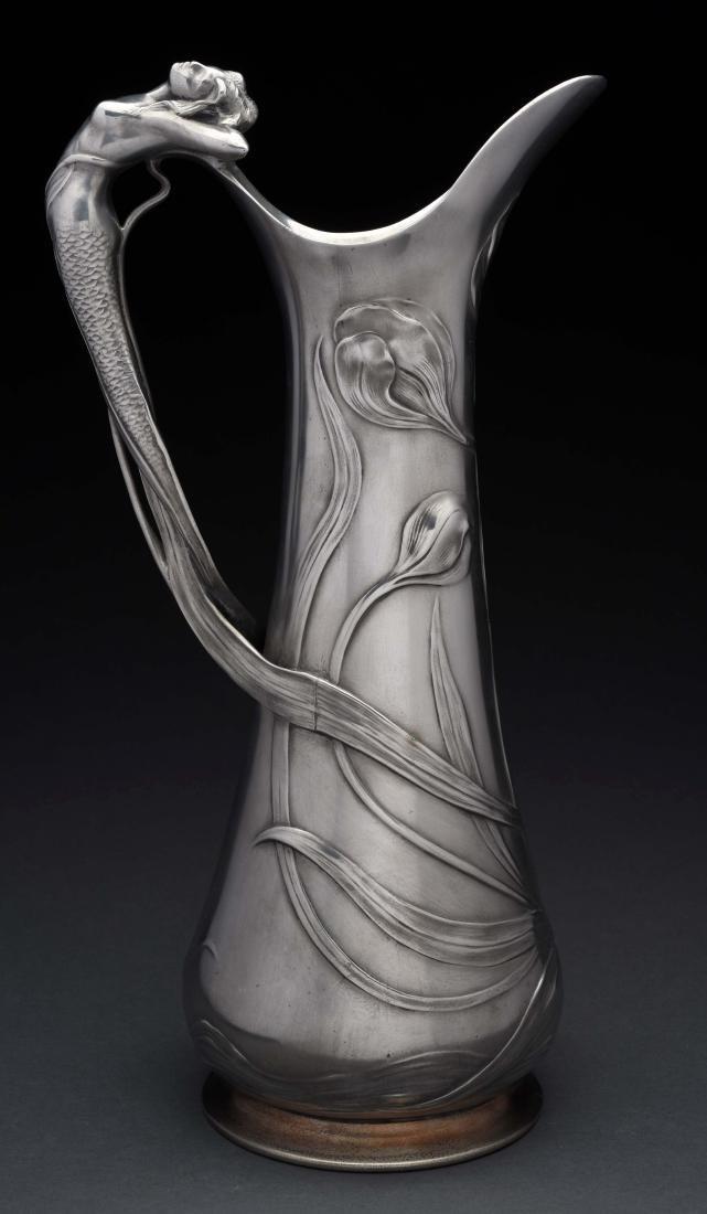 German WMF Art Noveau Pewter Tall Jug.