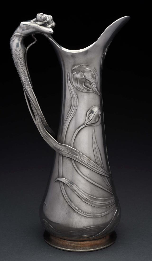 German WMF Art Noveau Pewter Tall Jug.