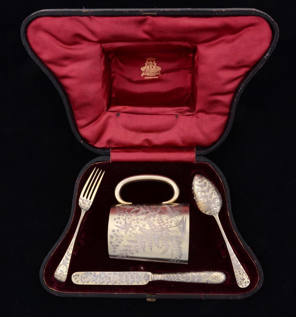 English Silver Gild Boxed Youth Set.
