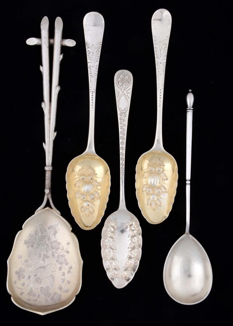 Lot of 5: English Sterling Silver Berry Spoons.