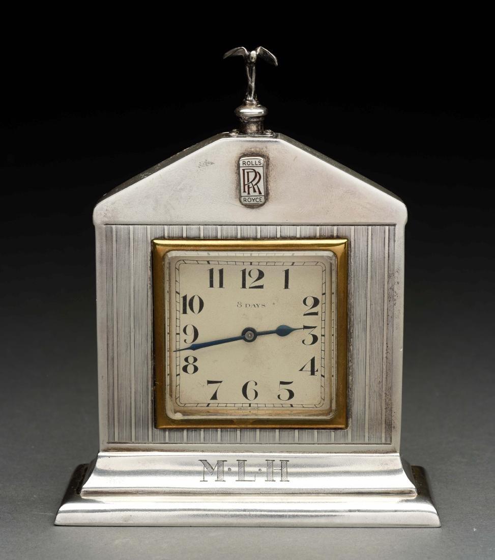 English Silver Rolls Royce Desk Clock.