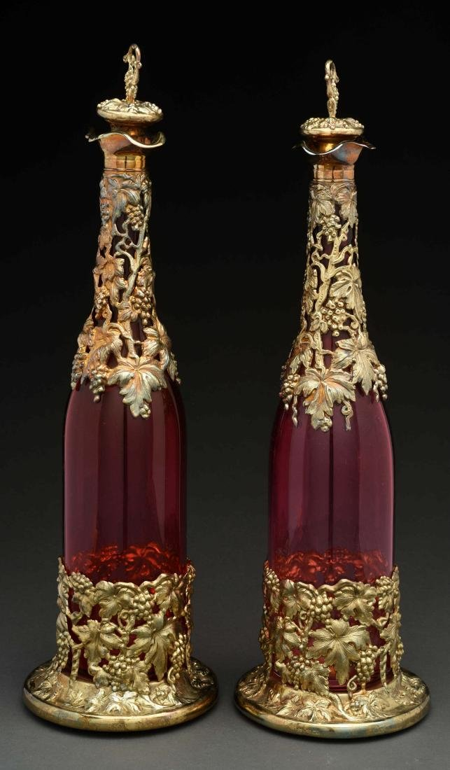 Pair Of Ruby Glass Decanters. - 2
