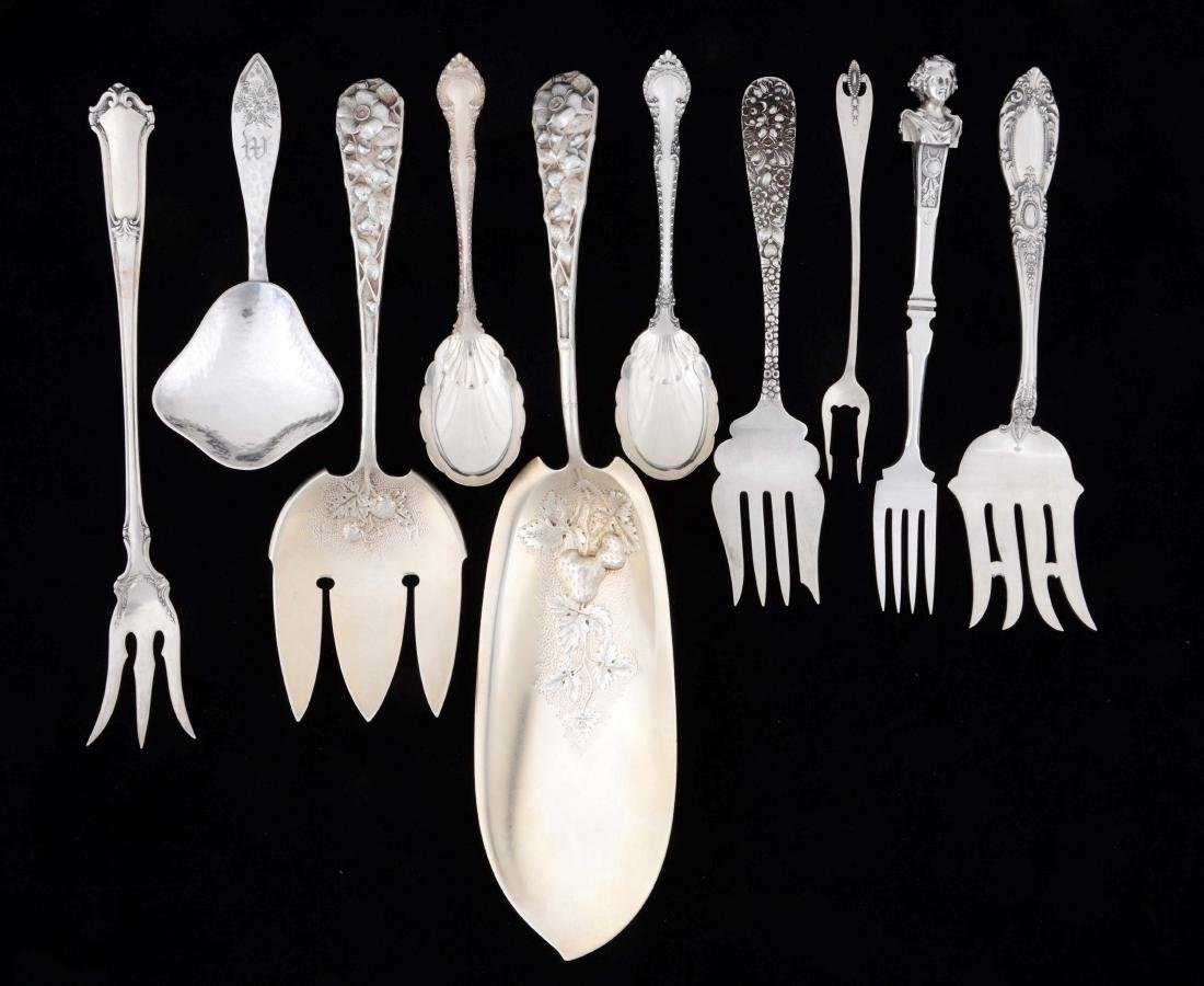 Lot Of 10: Unusual Sterling Silver Serving Pieces.