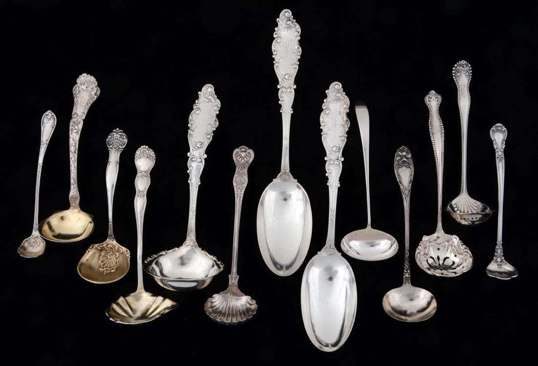 Lot Of 13: Sterling Silver Ladles & Spoons.
