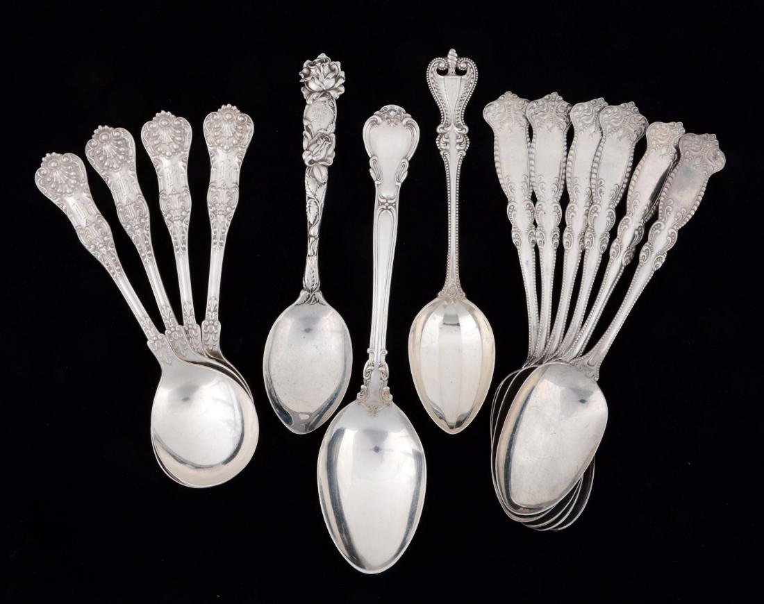Lot of 13: Sterling Silver Table & Soup Spoons.