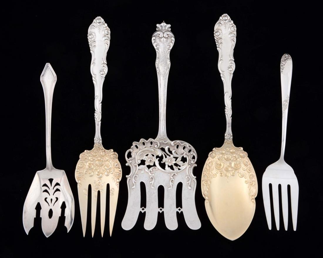 Lot Of 5: Sterling Silver Serving Pieces.