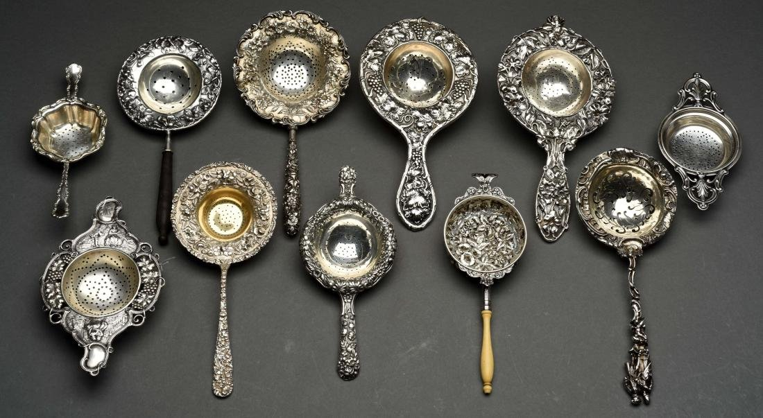 Lot Of 11: American & Continental Silver Tea Strainers.