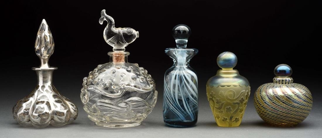 Lot Of 5: Glass & Silver Perfume Bottles.