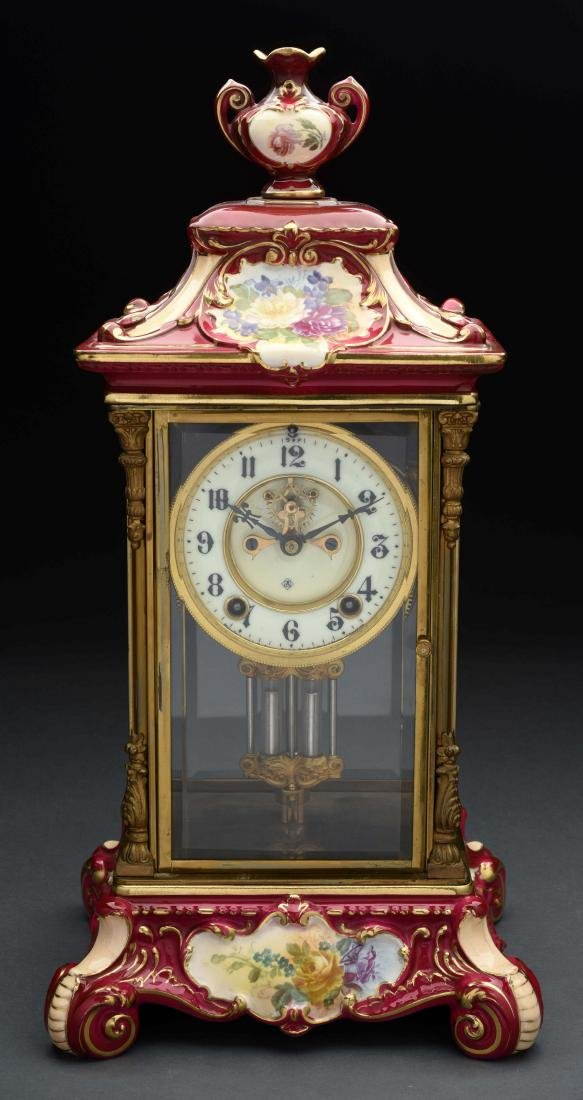 Ansonia Porcelain Time & Strike Clock.