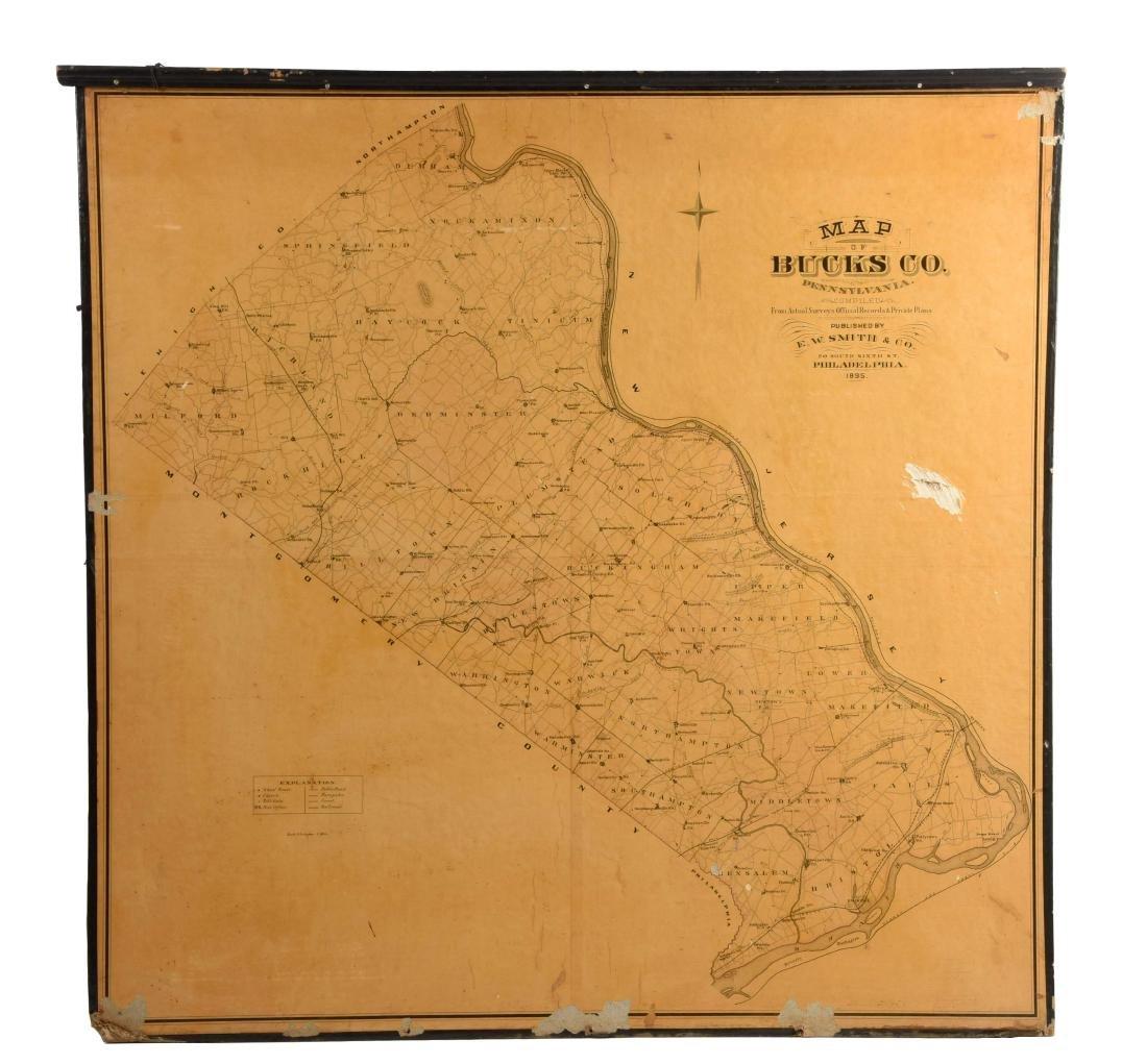 Map of Bucks County, Pennsylvania on Board.