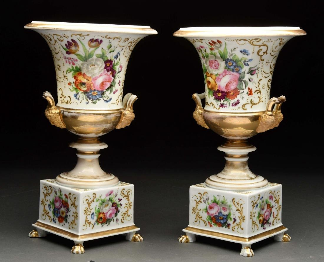 Lot Of 2: Hand Painted Urns. - 2