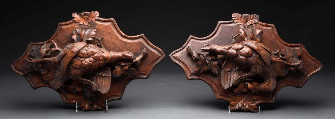 Lot Of 2: Hand Carved Pheasant Plaques.