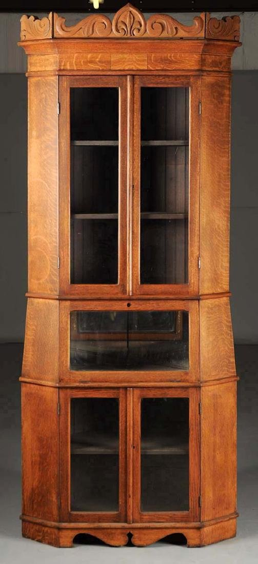 19th  Century Quarter Sawn Oak Corner Cabinet.