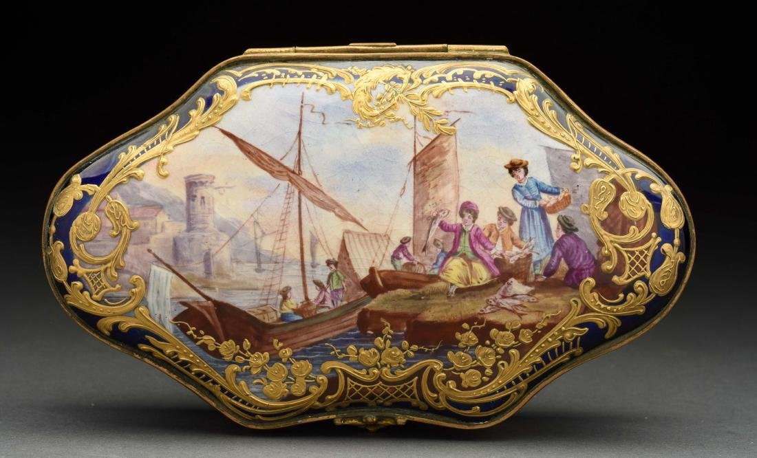 Sevres Soft Paste Lidded Hand Painted Box.