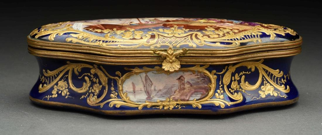 Sevres Soft Paste Lidded Hand Painted Box. - 2